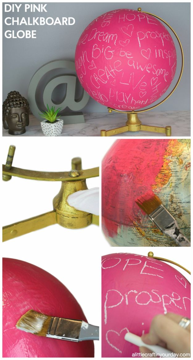DIY Teen Room Decor Ideas for Girls | DIY Pink Chalkboard Globe | Cool Bedroom Decor, Wall Art & Signs, Crafts, Bedding, Fun Do It Yourself Projects and Room Ideas for Small Spaces #diydecor #teendecor #roomdecor #teens #girlsroom