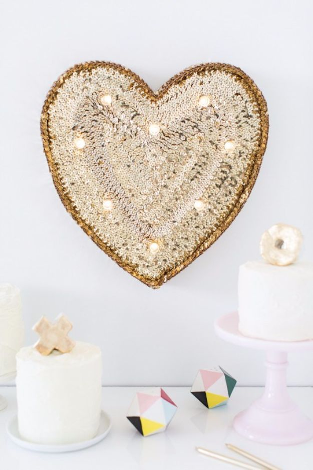 DIY Teen Room Decor Ideas for Girls | DIY Sequin Marquee Heart | Cool Bedroom Decor, Wall Art & Signs, Crafts, Bedding, Fun Do It Yourself Projects and Room Ideas for Small Spaces #diydecor #teendecor #roomdecor #teens #girlsroom