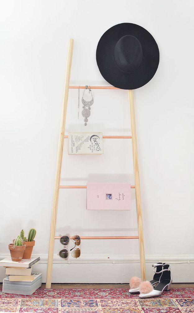 DIY Teen Room Decor Ideas for Girls | DIY Wood Copper and Wood Ladder Shelf | Cool Bedroom Decor, Wall Art & Signs, Crafts, Bedding, Fun Do It Yourself Projects and Room Ideas for Small Spaces #diydecor #teendecor #roomdecor #teens #girlsroom