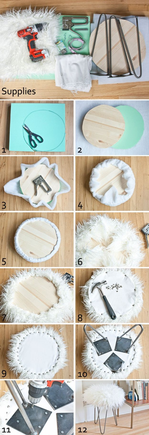DIY Teen Room Decor Ideas for Girls | Faux Fur Stool with Hairpin Legs | Cool Bedroom Decor, Wall Art & Signs, Crafts, Bedding, Fun Do It Yourself Projects and Room Ideas for Small Spaces #diydecor #teendecor #roomdecor #teens #girlsroom