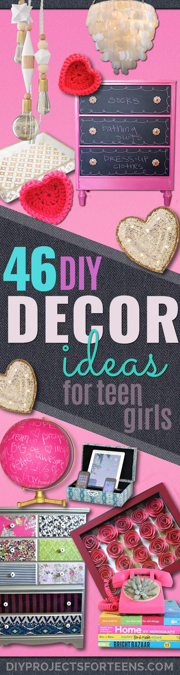diy teen room decor ideas for girls fun crafts and decor for tweens cool - Teenage Girl Bedroom Wall Designs