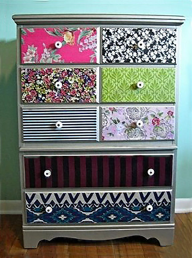 diy teen room decor ideas for girls diy mod podge dresser drawers with scrapbook paper - Diy Teenage Bedroom Decorating Ideas