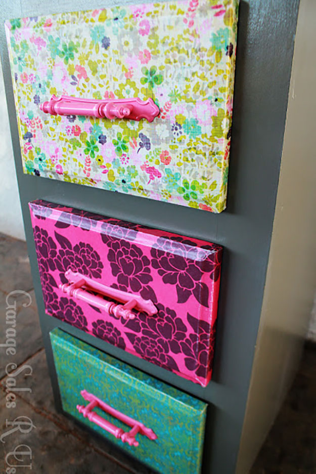 diy teen room decor ideas for girls diy mod podge dresser drawers with scrapbook paper - Diy Room Decor For Teens