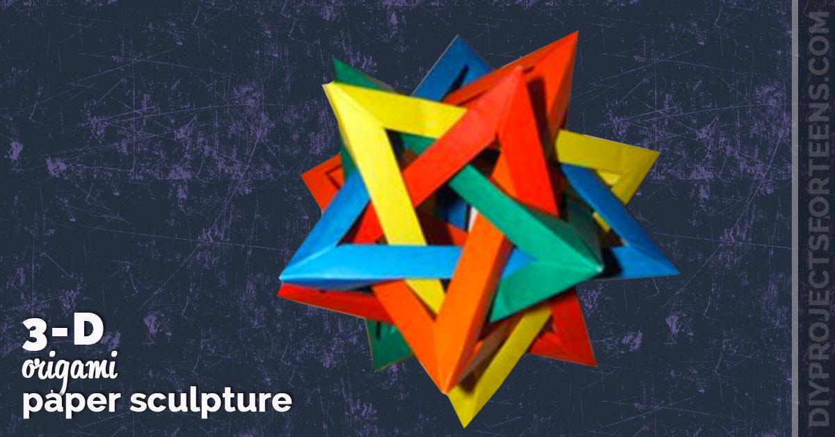 3d Origami Paper Tetrahedra Sculpture