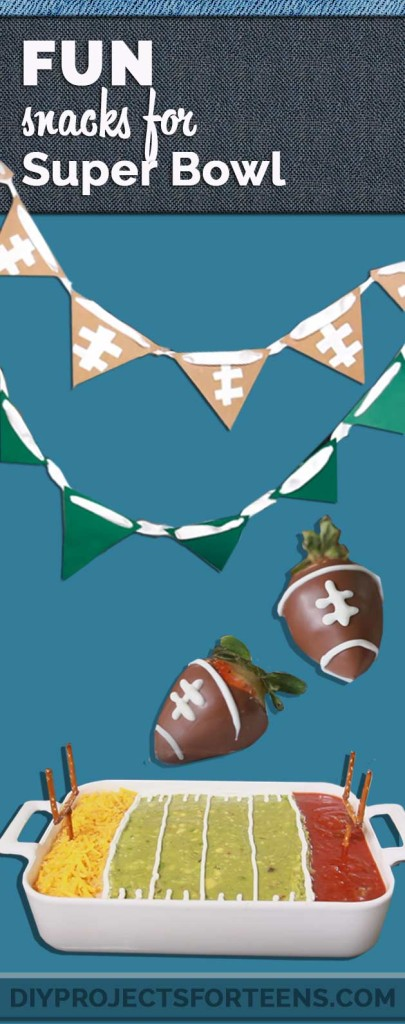 Fun Superbowl Snack Recipes and Ideas for Easy but Cool Party Food | How To Make Chocolate Covered Strawberry Footballs and Football Field 7 Layer Dip with Field Goal Pretzels | Fun and Easy Super Bowl Party Decor and Appetizers http://diyprojectsforteens.com/super-bowl-snacks-recipes/