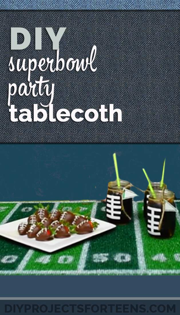 Fun and Easy Party Decor Ideas for Super Bowl - Cool DIY Superbowl Party Decor - Homemade Football Field Tablecloth | DIY Projects for Teens http://diyprojectsforteens.com/superbowl-party-decor-ideas/