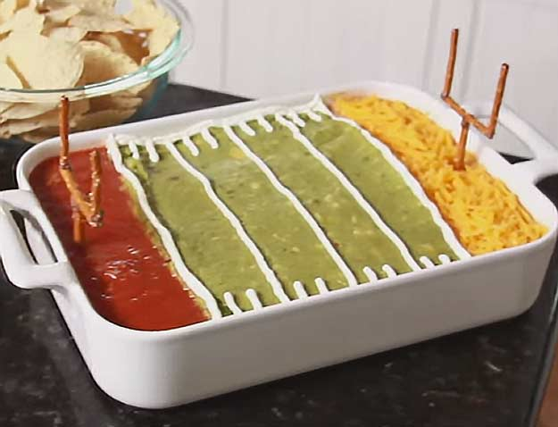 Make This Fun Superbowl Layered Dip with Field Goal