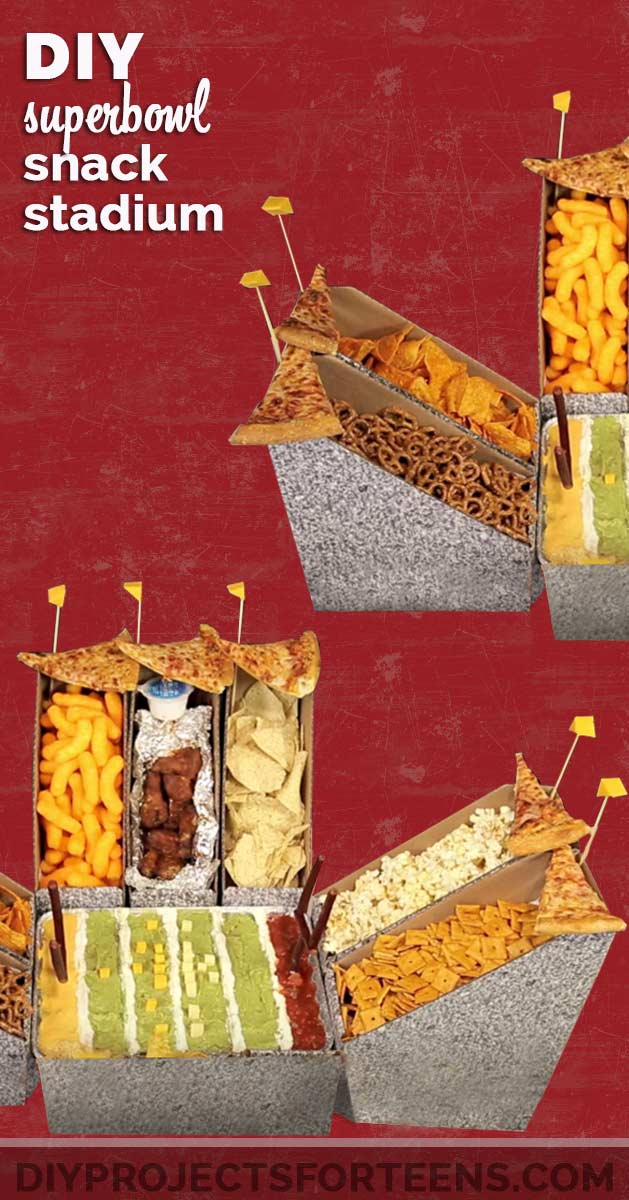 DIY Superbowl Snack Stadium makes Cool Party Decor for the Superbowl - Check out this easy idea for fun superbowl party table decorations | DIY Projects for Teens