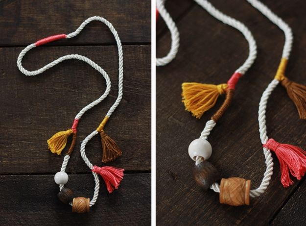 Anthropologie DIY Hacks, Clothes, Sewing Projects and Jewelry Fashion - Pillows, Bedding and Curtains - Tables and furniture - Mugs and Kitchen Decorations - DIY Room Decor and Cool Ideas for the Home | Anthro Inspired Tassel Necklace | http://diyprojectsforteens.com/diy-anthropologie-hacks