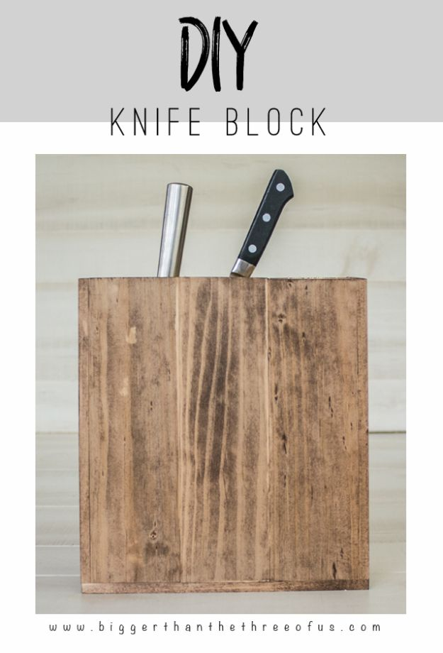 Anthropologie DIY Hacks, Clothes, Sewing Projects and Jewelry Fashion - Pillows, Bedding and Curtains - Tables and furniture - Mugs and Kitchen Decorations - DIY Room Decor and Cool Ideas for the Home | Anthropologie DIY Knife Block