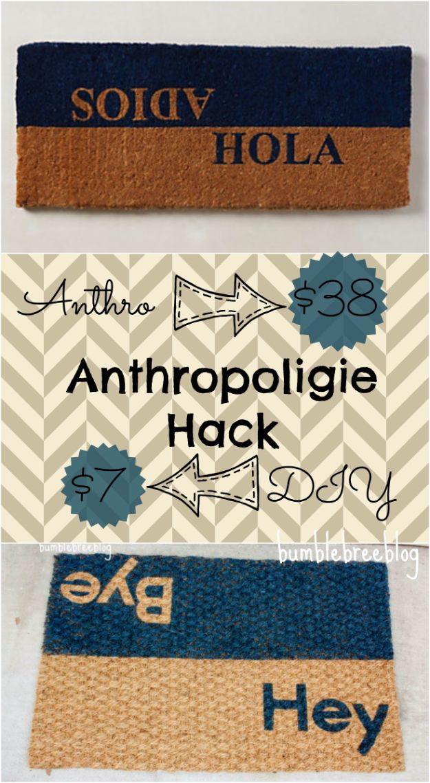 Anthropologie DIY Hacks, Clothes, Sewing Projects and Jewelry Fashion - Pillows, Bedding and Curtains - Tables and furniture - Mugs and Kitchen Decorations - DIY Room Decor and Cool Ideas for the Home | Anthropologie Hack Dual Greeting Welcome Mat