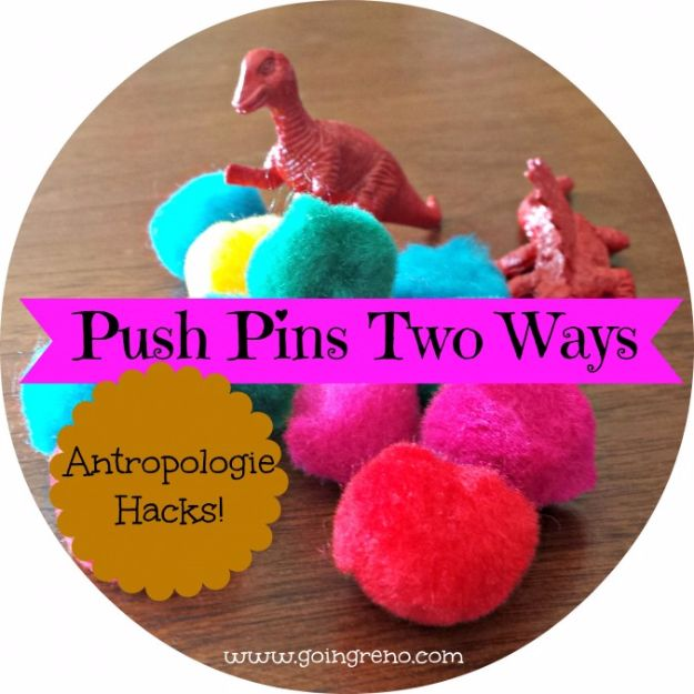 Anthropologie DIY Hacks, Clothes, Sewing Projects and Jewelry Fashion - Pillows, Bedding and Curtains - Tables and furniture - Mugs and Kitchen Decorations - DIY Room Decor and Cool Ideas for the Home | Anthropologie Hack Push Pins Two Ways