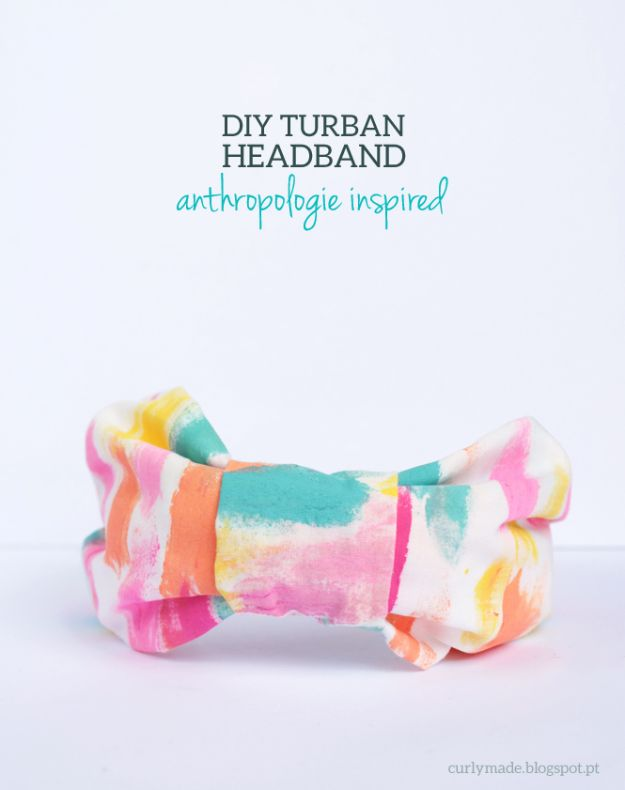 Anthropologie DIY Hacks, Clothes, Sewing Projects and Jewelry Fashion - Pillows, Bedding and Curtains - Tables and furniture - Mugs and Kitchen Decorations - DIY Room Decor and Cool Ideas for the Home | Anthropologie Inspired DIY Turban Headband | http://diyprojectsforteens.com/diy-anthropologie-hacks