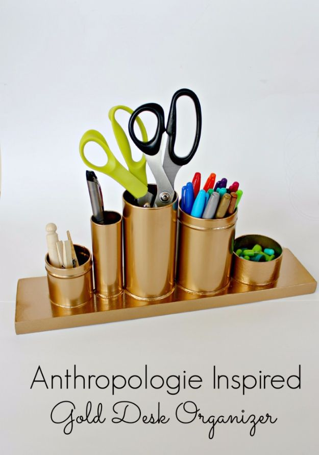 Anthropologie DIY Hacks, Clothes, Sewing Projects and Jewelry Fashion - Pillows, Bedding and Curtains - Tables and furniture - Mugs and Kitchen Decorations - DIY Room Decor and Cool Ideas for the Home | Anthropologie Inspired Gold Desk Organizer