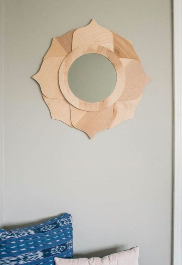 Anthropologie DIY Hacks, Clothes, Sewing Projects and Jewelry Fashion - Pillows, Bedding and Curtains - Tables and furniture - Mugs and Kitchen Decorations - DIY Room Decor and Cool Ideas for the Home | Anthropologie Inspired Lotus Mirror | http://diyprojectsforteens.com/diy-anthropologie-hacks