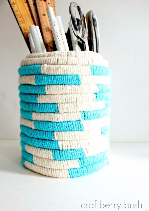 Anthropologie DIY Hacks, Clothes, Sewing Projects and Jewelry Fashion - Pillows, Bedding and Curtains - Tables and furniture - Mugs and Kitchen Decorations - DIY Room Decor and Cool Ideas for the Home | Anthropologie Knock Off Color Coil Pot | http://diyprojectsforteens.com/diy-anthropologie-hacks