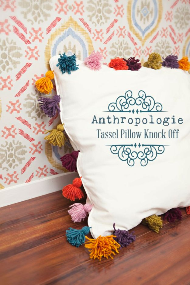 Anthropologie DIY Hacks, Clothes, Sewing Projects and Jewelry Fashion - Pillows, Bedding and Curtains - Tables and furniture - Mugs and Kitchen Decorations - DIY Room Decor and Cool Ideas for the Home | Anthropologie Tassel Pillow Knock Off | http://stage.diyprojectsforteens.com/diy-anthropologie-hacks