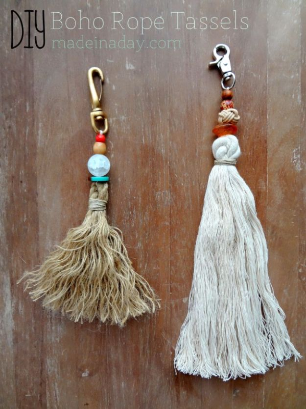 Anthropologie DIY Hacks, Clothes, Sewing Projects and Jewelry Fashion - Pillows, Bedding and Curtains - Tables and furniture - Mugs and Kitchen Decorations - DIY Room Decor and Cool Ideas for the Home | Bohemian Rope Tassels | http://diyprojectsforteens.com/diy-anthropologie-hacks