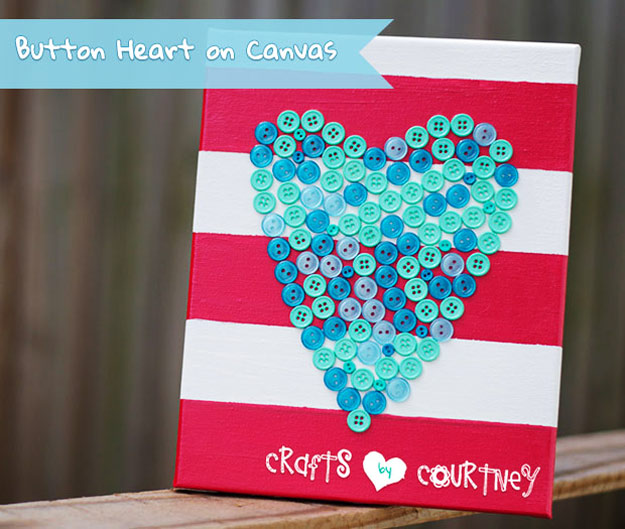 Cool DIY Ideas for Fun and Easy Crafts - DIY Button Heart Canvas Wall Art - Cute Homemade Gifts for Teen Girls - Awesome Pinterest DIYs that Are Not Impossible To Make - Creative Do It Yourself Craft Projects for Adults, Teens and Tweens. http://diyprojectsforteens.com/fun-crafts-pinterest