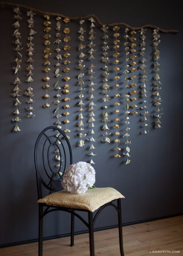 Anthropologie DIY Hacks, Clothes, Sewing Projects and Jewelry Fashion - Pillows, Bedding and Curtains - Tables and furniture - Mugs and Kitchen Decorations - DIY Room Decor and Cool Ideas for the Home | Cascading Paper Flower Garland