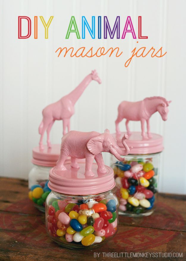 Cute DIY Mason Jar Ideas - DIY Animal Candy Jars - Fun Crafts, Creative Room Decor, Homemade Gifts, Creative Home Decor Projects and DIY Mason Jar Lights - Cool Crafts for Teens and Tween Girls #diyideas #masonjarcrafts #teencrafts