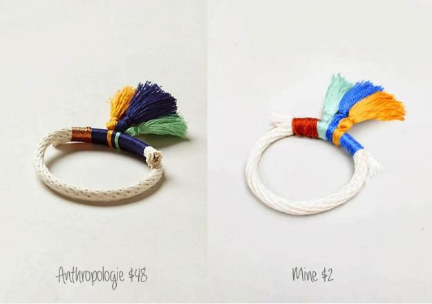 Anthropologie DIY Hacks, Clothes, Sewing Projects and Jewelry Fashion - Pillows, Bedding and Curtains - Tables and furniture - Mugs and Kitchen Decorations - DIY Room Decor and Cool Ideas for the Home | DIY Anthropologie Tassled Rope Bracelet | http://diyprojectsforteens.com/diy-anthropologie-hacks