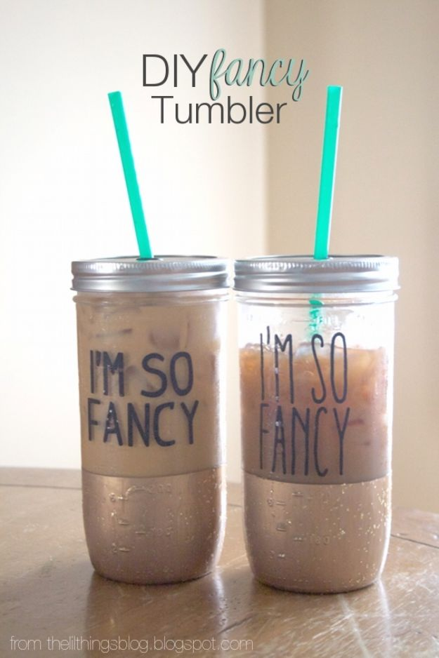 Cute DIY Mason Jar Ideas - DIY Fancy Mason Jar Tumbler - Fun Crafts, Creative Room Decor, Homemade Gifts, Creative Home Decor Projects and DIY Mason Jar Lights - Cool Crafts for Teens and Tween Girls #diyideas #masonjarcrafts #teencrafts