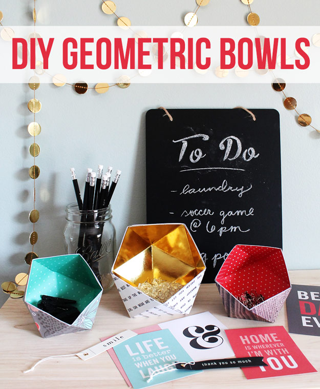 Cool DIY Ideas for Fun and Easy Crafts - DIY Geometric Bowls - Awesome Pinterest DIYs that Are Not Impossible To Make - Creative Do It Yourself Craft Projects for Adults, Teens and Tweens. http://diyprojectsforteens.com/fun-crafts-pinterest