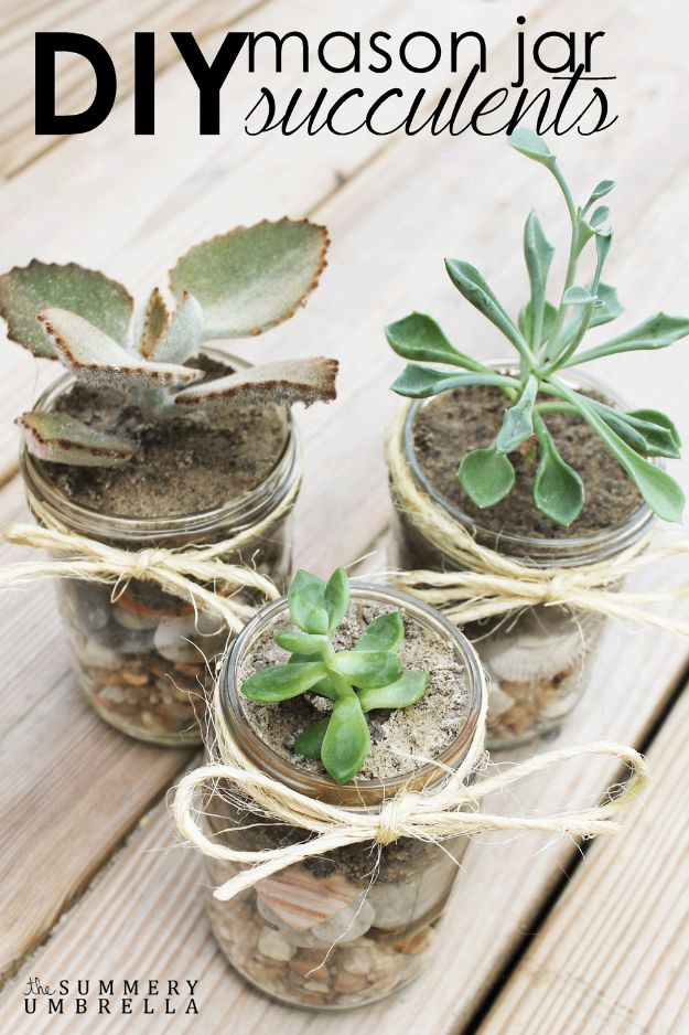 Cute DIY Mason Jar Ideas - DIY Mason Jar Succulents - Fun Crafts, Creative Room Decor, Homemade Gifts, Creative Home Decor Projects and DIY Mason Jar Lights - Cool Crafts for Teens and Tween Girls #diyideas #masonjarcrafts #teencrafts