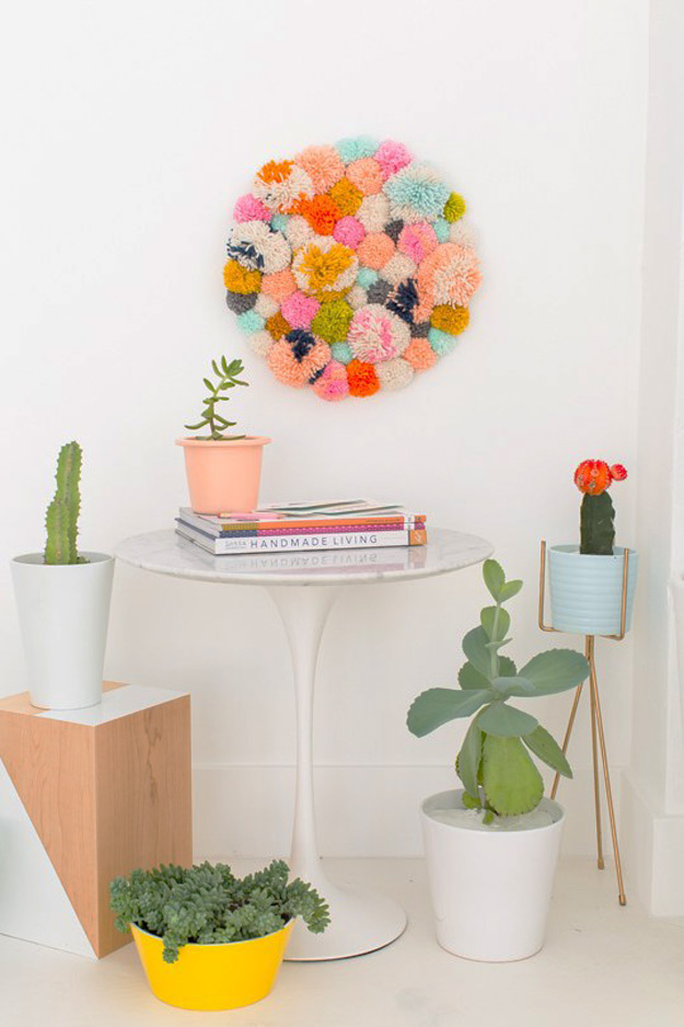 47 fun pinterest crafts that arent impossible cool diy ideas for fun and easy crafts diy pom pom wall art hanging solutioingenieria Choice Image