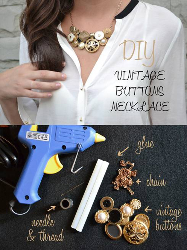 Cool DIY Ideas for Fun and Easy Crafts -DIY Vintage Button Necklace- DIY Wine Cork Crafts - Colorful Handmade Pendant is Fun DIY Jewelry Idea - DIY Moon Pendant for Easy DIY Lighting in Teens Rooms - Dip Dyed String Wall Hanging - DIY Mini Easel Makes Fun DIY Room Decor Idea - Awesome Pinterest DIYs that Are Not Impossible To Make - Creative Do It Yourself Craft Projects for Adults, Teens and Tweens #diyteens #teencrafts #funcrafts #fundiy #diyideas