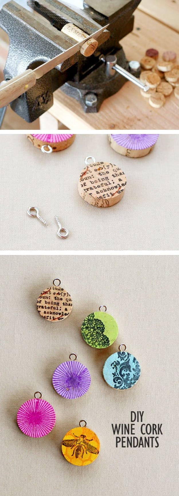 Cool DIY Ideas for Fun and Easy Crafts - DIY Wine Cork Crafts - Colorful Handmade Pendant is Fun DIY Jewelry Idea - DIY Moon Pendant for Easy DIY Lighting in Teens Rooms - Dip Dyed String Wall Hanging - DIY Mini Easel Makes Fun DIY Room Decor Idea - Awesome Pinterest DIYs that Are Not Impossible To Make - Creative Do It Yourself Craft Projects for Adults, Teens and Tweens #diyteens #teencrafts #funcrafts #fundiy #diyideas