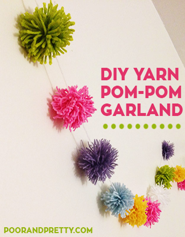 Cool DIY Ideas for Fun and Easy Crafts - DIY Pom Pom Garlands -Cute and Inexpensive Room Decor Ideas for Apartments, Teen Room, Girls Rooms- Awesome Pinterest DIYs that Are Not Impossible To Make - Creative Do It Yourself Craft Projects for Adults, Teens and Tweens #diyteens #teencrafts #funcrafts #fundiy #diyideas