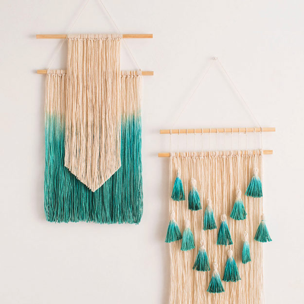 Cool DIY Ideas for Fun and Easy Crafts - Easy Wall Art Ideas - Dip Dyed String Wall Hanging - DIY Mini Easel Makes Fun DIY Room Decor Idea - Awesome Pinterest DIYs that Are Not Impossible To Make - Creative Do It Yourself Craft Projects for Adults, Teens and Tweens #diyteens #teencrafts #funcrafts #fundiy #diyideas