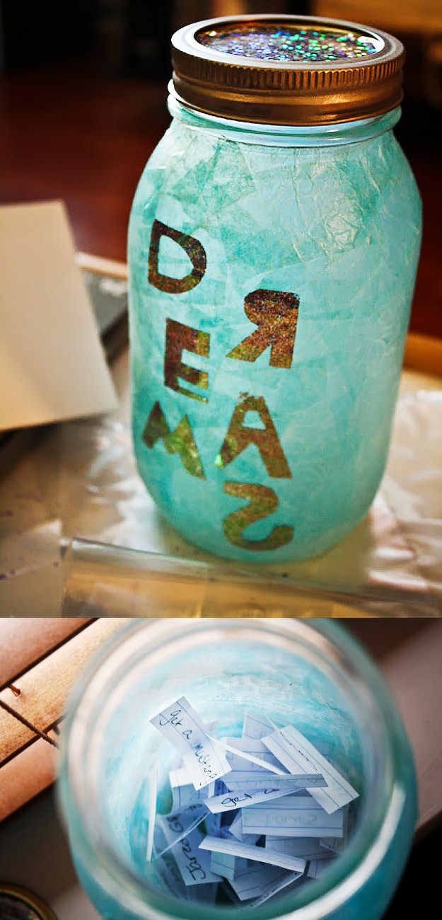 Cute DIY Mason Jar Ideas - How To Make Dream Jars - Fun Crafts, Creative Room Decor, Homemade Gifts, Creative Home Decor Projects and DIY Mason Jar Lights - Cool Crafts for Teens and Tween Girls #diyideas #masonjarcrafts #teencrafts