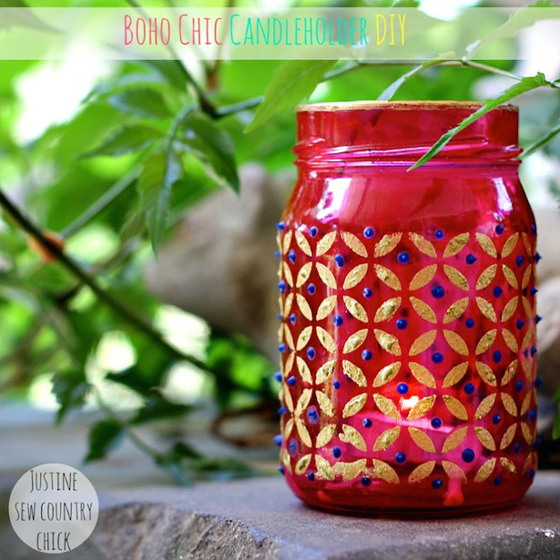 Cute DIY Mason Jar Ideas - Easy Boho Chic Mason Jar Candle Holders - Fun Crafts, Creative Room Decor, Homemade Gifts, Creative Home Decor Projects and DIY Mason Jar Lights - Cool Crafts for Teens and Tween Girls http://diyprojectsforteens.com/cute-diy-mason-jar-crafts