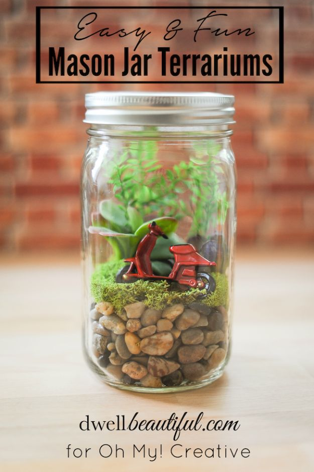 Cute DIY Mason Jar Ideas - Easy DIY Mason Jar Terrarium - Fun Crafts, Creative Room Decor, Homemade Gifts, Creative Home Decor Projects and DIY Mason Jar Lights - Cool Crafts for Teens and Tween Girls #diyideas #masonjarcrafts #teencrafts