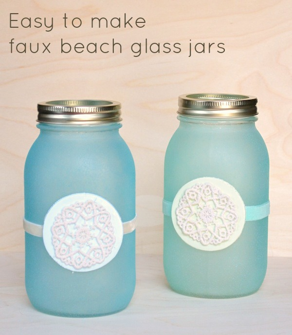 Cute DIY Mason Jar Ideas - Faux Beach Glass Jars - Fun Crafts, Creative Room Decor, Homemade Gifts, Creative Home Decor Projects and DIY Mason Jar Lights - Cool Crafts for Teens and Tween Girls #diyideas #masonjarcrafts #teencrafts