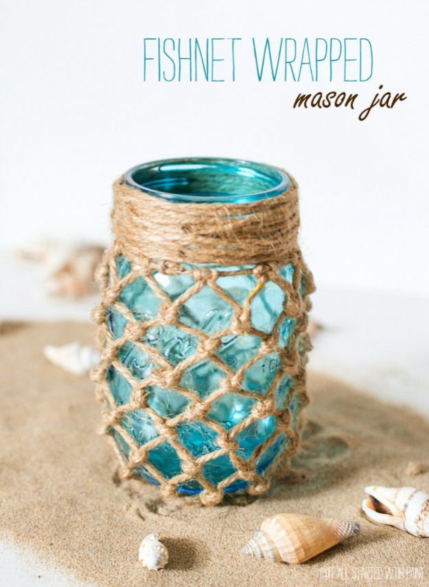 Cute DIY Mason Jar Ideas - Fishnet Wrapped Mason Jar - Fun Crafts, Creative Room Decor, Homemade Gifts, Creative Home Decor Projects and DIY Mason Jar Lights - Cool Crafts for Teens and Tween Girls http://diyprojectsforteens.com/cute-diy-mason-jar-crafts