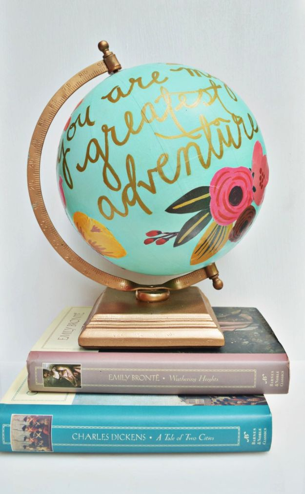 Anthropologie DIY Hacks, Clothes, Sewing Projects and Jewelry Fashion - Pillows, Bedding and Curtains - Tables and furniture - Mugs and Kitchen Decorations - DIY Room Decor and Cool Ideas for the Home | Floral Quote Globe | http://diyprojectsforteens.com/diy-anthropologie-hacks