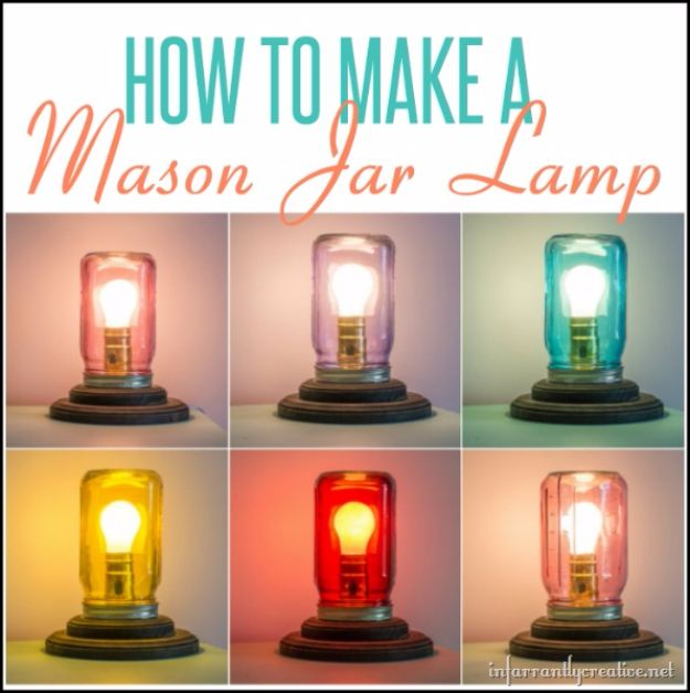 Cute DIY Mason Jar Ideas - How To Make A Mason Jar Table Lamp - Fun Crafts, Creative Room Decor, Homemade Gifts, Creative Home Decor Projects and DIY Mason Jar Lights - Cool Crafts for Teens and Tween Girls #diyideas #masonjarcrafts #teencrafts