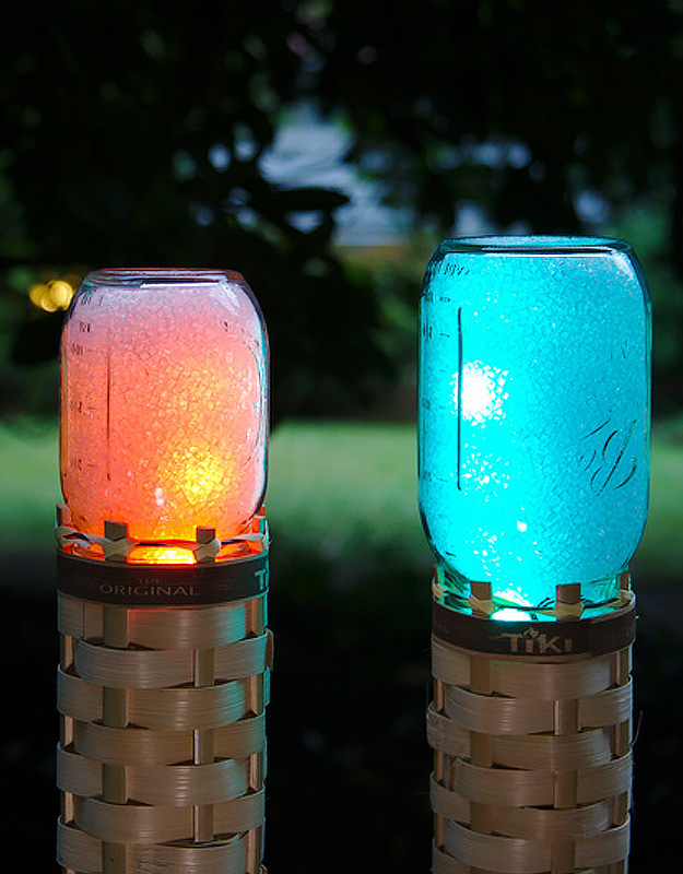 Cute DIY Mason Jar Ideas - Mason Jar Techno Tiki Torch - Fun Crafts, Creative Room Decor, Homemade Gifts, Creative Home Decor Projects and DIY Mason Jar Lights - Cool Crafts for Teens and Tween Girls #diyideas #masonjarcrafts #teencrafts