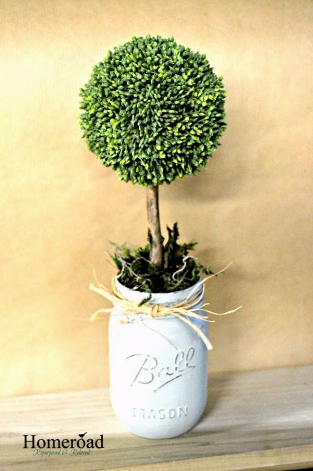 Cute DIY Mason Jar Ideas - Mason Jar Topiary Trees - Fun Crafts, Creative Room Decor, Homemade Gifts, Creative Home Decor Projects and DIY Mason Jar Lights - Cool Crafts for Teens and Tween Girls http://diyprojectsforteens.com/cute-diy-mason-jar-crafts