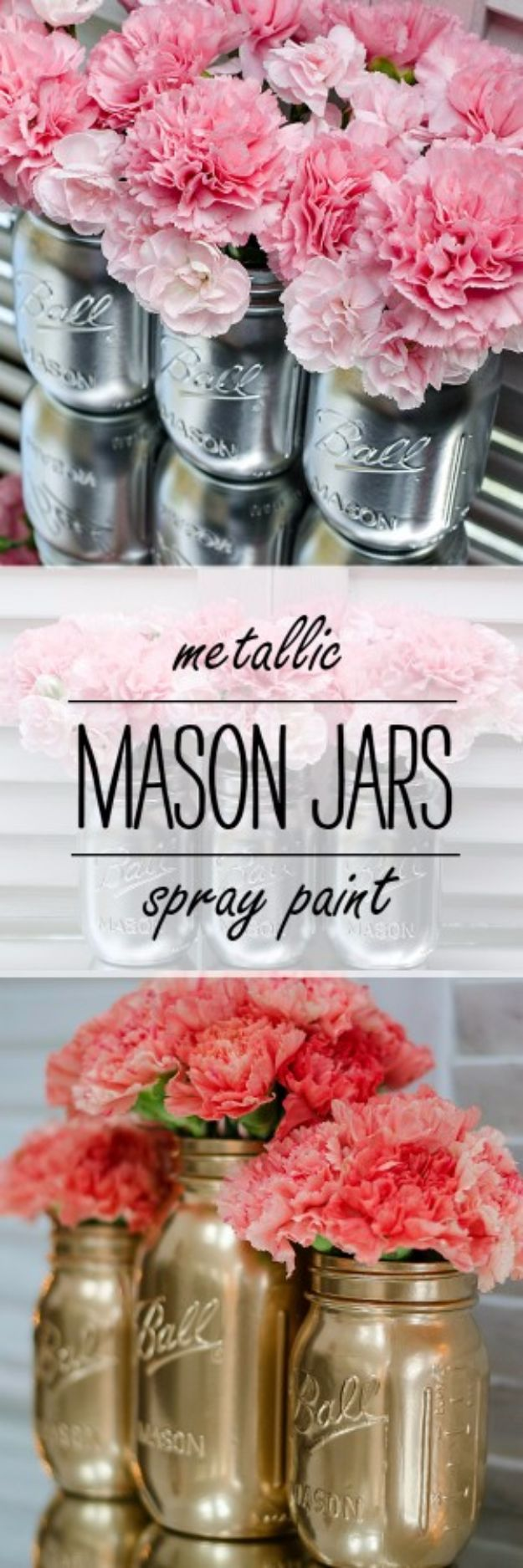 Cute DIY Mason Jar Ideas -Metallic Mason Jars - Fun Crafts, Creative Room Decor, Homemade Gifts, Creative Home Decor Projects and DIY Mason Jar Lights - Cool Crafts for Teens and Tween Girls #diyideas #masonjarcrafts #teencrafts