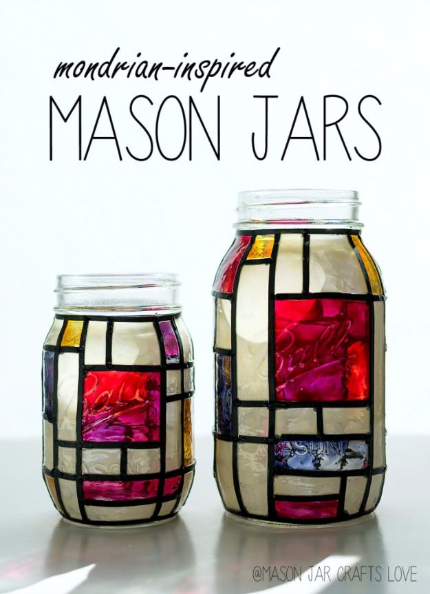 Cute DIY Mason Jar Ideas - Mondrian Inspired Mason Jars - Fun Crafts, Creative Room Decor, Homemade Gifts, Creative Home Decor Projects and DIY Mason Jar Lights - Cool Crafts for Teens and Tween Girls http://diyprojectsforteens.com/cute-diy-mason-jar-crafts