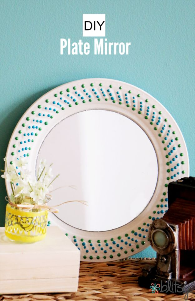Anthropologie DIY Hacks, Clothes, Sewing Projects and Jewelry Fashion - Pillows, Bedding and Curtains - Tables and furniture - Mugs and Kitchen Decorations - DIY Room Decor and Cool Ideas for the Home | Plate to Decorative Mirror | http://diyprojectsforteens.com/diy-anthropologie-hacks