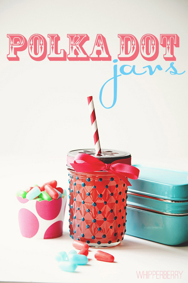 Cute DIY Mason Jar Ideas - Polka Dot Jars - Fun Crafts, Creative Room Decor, Homemade Gifts, Creative Home Decor Projects and DIY Mason Jar Lights - Cool Crafts for Teens and Tween Girls #diyideas #masonjarcrafts #teencrafts