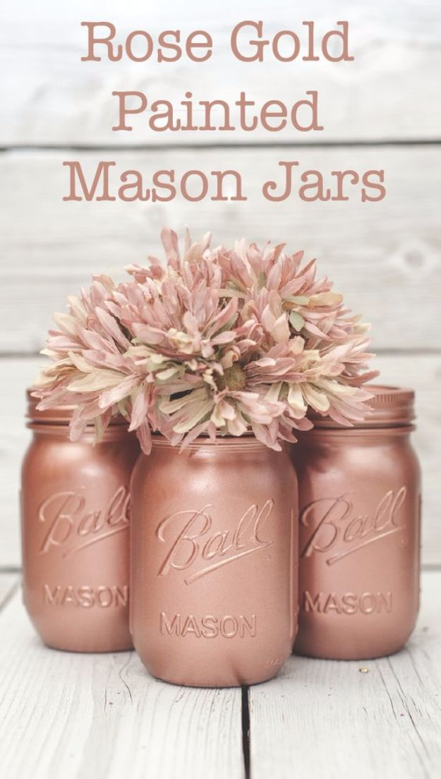 Cute DIY Mason Jar Ideas - Rose Gold Painted Mason Jars - Fun Crafts, Creative Room Decor, Homemade Gifts, Creative Home Decor Projects and DIY Mason Jar Lights - Cool Crafts for Teens and Tween Girls #diyideas #masonjarcrafts #teencrafts