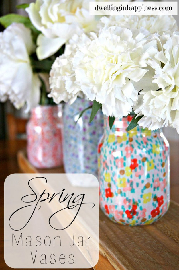 Cute DIY Mason Jar Ideas - Spring Mason Jar Vases - Fun Crafts, Creative Room Decor, Homemade Gifts, Creative Home Decor Projects and DIY Mason Jar Lights - Cool Crafts for Teens and Tween Girls #diyideas #masonjarcrafts #teencrafts