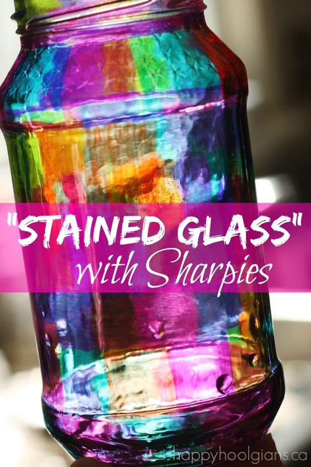 Cute DIY Mason Jar Ideas - Stained Glass with Sharpies - Fun Crafts, Creative Room Decor, Homemade Gifts, Creative Home Decor Projects and DIY Mason Jar Lights - Cool Crafts for Teens and Tween Girls #diyideas #masonjarcrafts #teencrafts